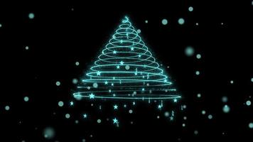 Christmas Tree with Snow and Stars 4K Loop
