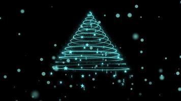albero di Natale con ciclo di neve e stelle 4K