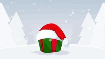 sombrero rojo de santa claus con nieve caída