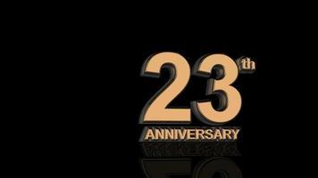 23 aniversario. texto de letras 3d de oro.