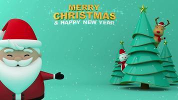 grande papai noel, feliz natal e feliz ano novo com neve.