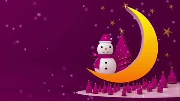muñeco de nieve y árbol de navidad en la luna video