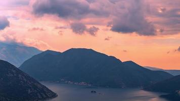 Rain clouds at sunset in the side of the Bay of Kotor video