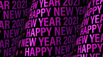 Happy New Year 2021 Purple Cylindrical Text Wall video