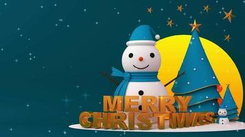 Feliz Natal renderização 3d com neve