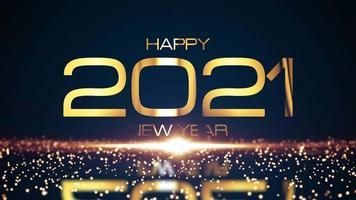 feliz ano novo de 2021 com partículas brilhantes video