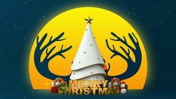 weißer Weihnachtsbaum und Geschenkboxen