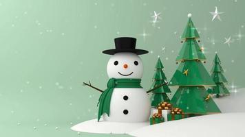 Schneemann und grüner Weihnachtsbaum mit fallendem Schnee