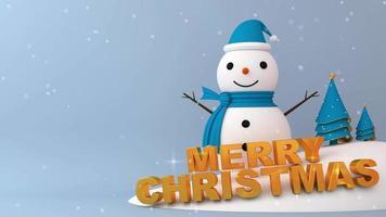 boneco de neve de natal com modelo de neve caindo video