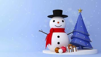 boneco de neve e árvore de natal com caixas de presente video