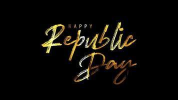 feliz dia da república saudação texto manuscrito dourado