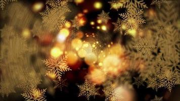 Christmas New Year festive loop golden bokeh snowflakes