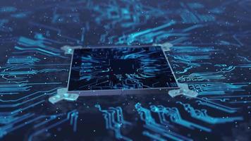 Transmisión de datos en un sistema de servidor de microchip futurista.