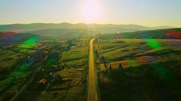 Aerial view countryside sunup