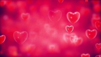 corazones estallando sobre fondo rojo