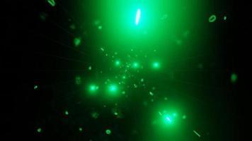 vj loop 3d ilustración partículas verdes espacio galaxia agujero de gusano