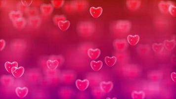 corazones rosas flotando en fondo rojo