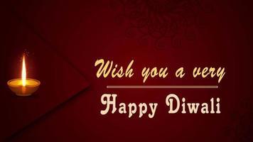 feliz saudação de diwali com animação de lâmpada a óleo