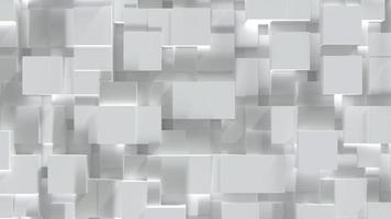 bloco de cubo branco abstrato em superfície de nível aleatório video