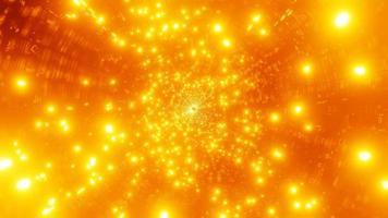 vj loop ilustração 3d partícula de fogo voando no espaço