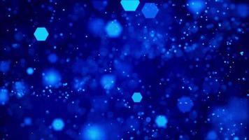 hexagones bleus se déplaçant dans l'espace