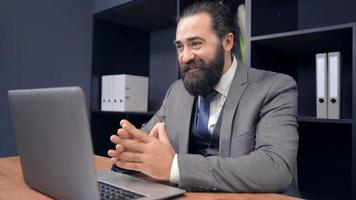 Businessman Using Webcam for Call in The Office video