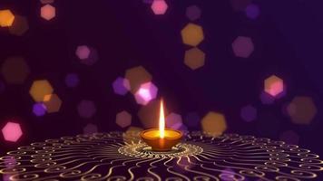 saudação diwali com diya e fundo bokeh