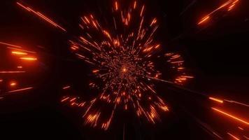 leuchtend orange neon funkelnde Partikel Wurmloch