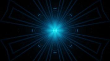 abstrakter blauer Sterntunnel mit sich schnell bewegenden orangefarbenen und blauen Neonlichtern