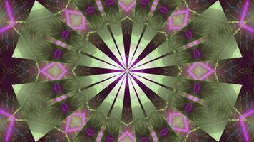 boucle vj motif kaléidoscope vert avec néons roses froids
