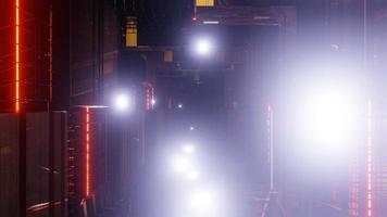 túnel de buraco abstrato legal com estrutura de néon e reflexos de lente