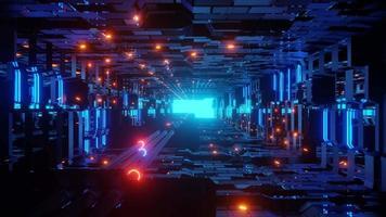 tubos elétricos brilhantes com luzes de néon em um túnel futurista de ficção científica