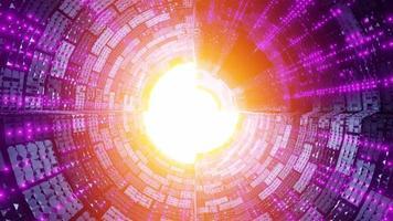 Túnel de nave espacial futurista con sombras frescas y luces de neón video
