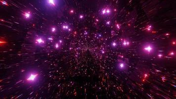 túnel de espaço abstrato com estrelas brilhantes de néon