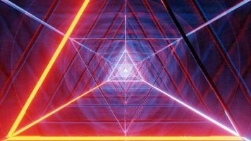desenho de espaço de ficção científica de triângulo de néon brilhante wireframe