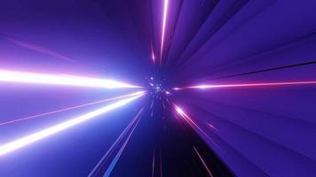 Túnel espacial mágico de fantasia em néon brilhante com luzes de néon rosa