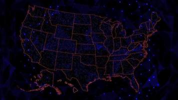 mapa iluminado dos eua