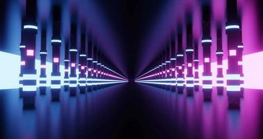Túnel de metal oscuro con pilares brillantes.