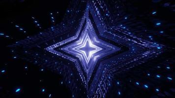 Pasillo del túnel de la nave espacial estrella futurista con luces de neón azules video