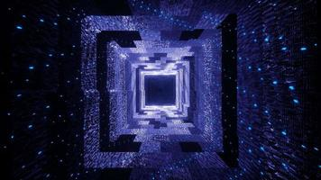 Agujero del pasillo del túnel mágico con luces de neón azules brillantes