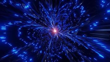 rayos de luz de neón azul brillante partículas brillantes agujero de gusano