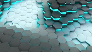 Background of neon hexagonal cells. Animation. 3d rendering