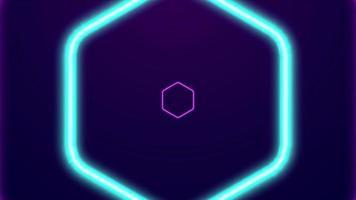 animazione di forme esagonali al neon incandescente