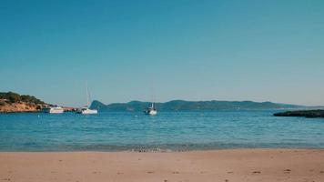 Ibiza beach Cala Bassa with clear sky
