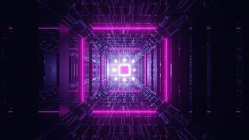Túnel de vidrio de ciencia ficción futurista con luces de neón rosa brillante