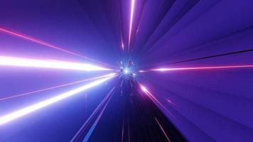 3d rendering dj visual vj loop con luces de neón brillantes, estructura metálica brillante y un corredor de túnel de nave espacial abstracto video