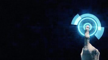 mano que señala el dedo presiona el botón en la pantalla táctil