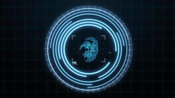 Holographic Blue Fingerprint Scanner HUD