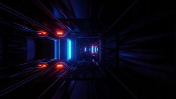 corredor brilhante envelhecido espacial com feixes de luz