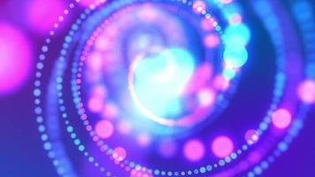 Luzes azuis do bokeh girando em forma de espiral no fundo